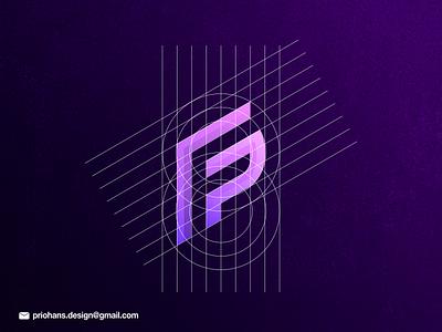 Letter Mark F + P Logo colorful color branding vector brand prio hans letter mark logo modern logo logo process logo grid purple color fp logo letter f logo letter f logo