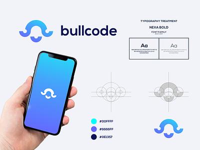 Bullcode Logo visual identity brand identity grafast design brand code logo technology logo technology bull logo bull vector color typography branding logo