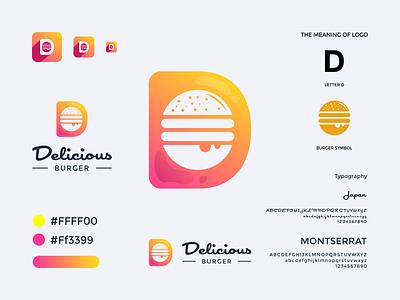 Delicious Burger Logo d logo letter d food logo food burger logo burger delicious logo delicious brand vector web ux ui app typography branding logo
