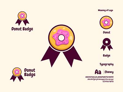 Donut Badge prio hans delicious food logo badge logo badge donut logo donut vector brand icon illustration typography branding logo