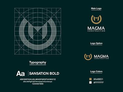 Magma Construction Logo logo guidelines logo process logo designer lettermark brand identity m logo letter m prio hans typography brand vector branding logo
