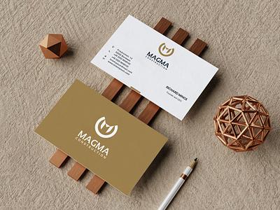 Magma Construction Logo prio hans color business card design business card letter m logo letter m typography illustration design brand vector branding logo