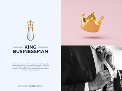 Tie and Crown Logo business man business logo crown logo crown tie logo tie design illustration prio hans typography color brand vector branding logo