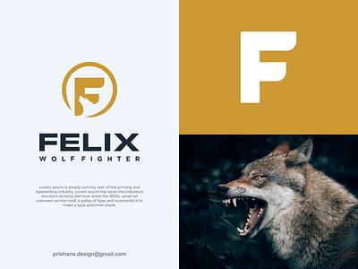 LETTER F AND WOLF LOGO animal logo wolf logo letter f logo graphic design illustration design prio hans typography color brand vector branding logo