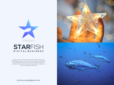 Star and Fish Logo smart logo brand identity negative space logo fish logo fish star logo star design illustration prio hans typography color brand vector branding logo