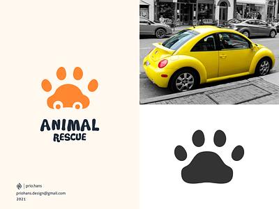 Animal Rescue Logo meaningful logo negative space logo dual meaning logo illustration car logo car animal logo paw logo paw prio hans typography color brand vector branding logo