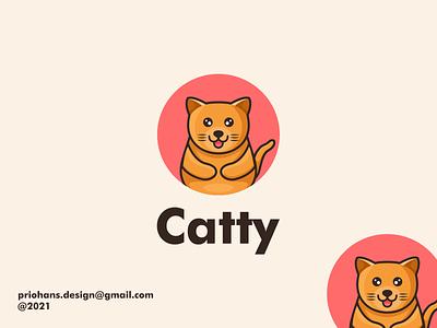 CUTE CAT MASCOT LOGO character design animal mascot cute cat cat mascot cat logo cat design illustration prio hans typography color brand vector branding logo