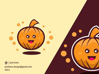 Simple Pumpkin Mascot design hallowen mascot hallowen cartoon brand identity pumpkin logo pumpkin mascot cute pumpkin pumpkin color prio hans illustration brand vector branding logo