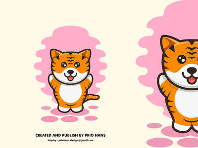Cute Tiger Cartoon Illustration tiger illustration character design character cute cartoon tiger logo tiger illustration design prio hans color brand vector branding logo