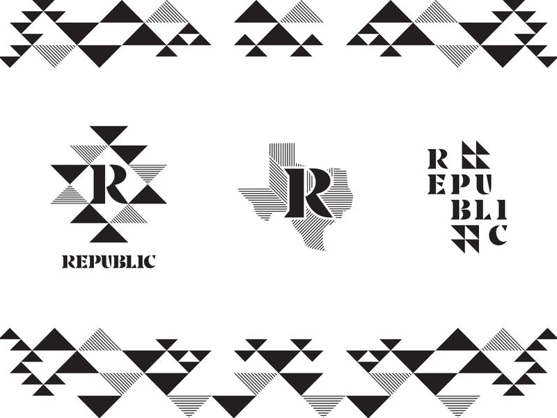 Republic triangle pattern geometric typography qualtrics logo badge seal branding identity texas dallas