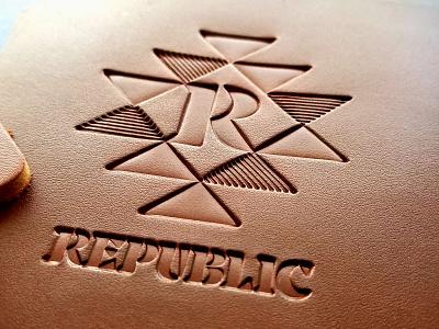 Republic Coasters type typography qualtrics bar republic texas dallas geometric identity branding cantina leather coaster