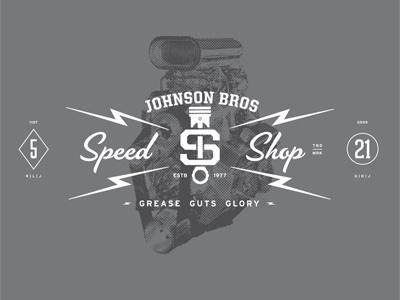 Johnson Bros Speed Shop lightning piston halftone numbers monotone gray grey script slab serif circle diamond poster