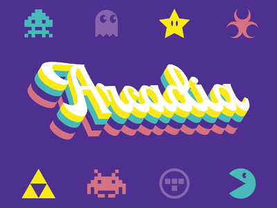 Arcadia branding typography type mario tron video games idaho burley zelda space invaders pacman games arcade arcade game videogames