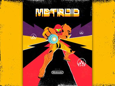 Metroid Poster sci-fi scifi heroine poster typogaphy type video game videogame samus aran samus nes nintendo metroid