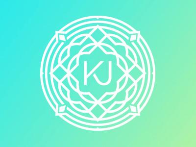 KJ seal badge ornate circle symbol type intricate pattern monogram blue green gradient