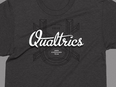 Qualtrics UX script team user experience swag gray qualtrics shirt tee apparel technology saas ux
