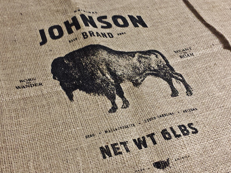 Johnson Brand typography type potato sack potato black handmade sack burlap silk screen animal buffalo