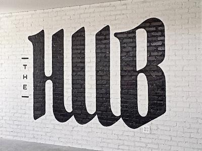The Hub hand painted food provo utah hub typography type restaurant diner brick qualtrics
