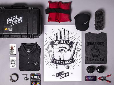 Film Crew Branding line art apparel collection branding sunburst eye hand film crew film qualtrics