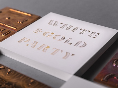 White & Gold Party Invite formal type typography qualtrics holiday invite foil gold christmas