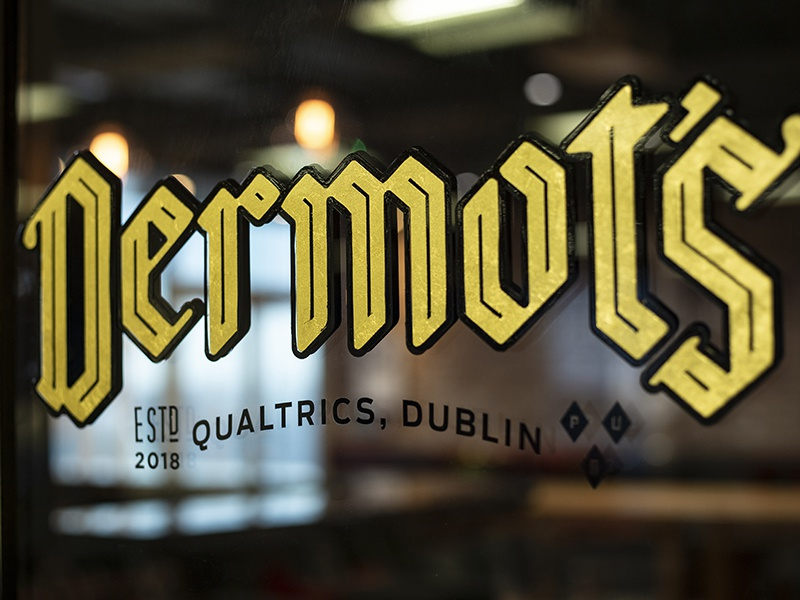 Dermot's Branding typography gold foil tech qualtrics pub ireland europe dublin branding blackletter beer bar