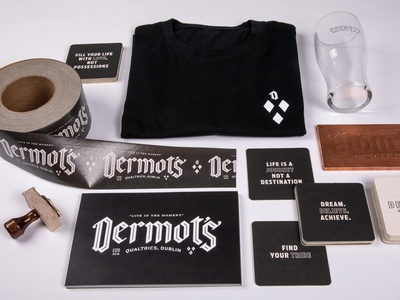 Dermot's shirt apparel qualtrics pint glass coaster tape branding bar pub stamp blackletter typography ireland dublin