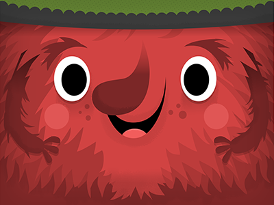 Red Creature kids drawing illustration furry fur cute monster