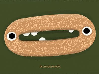 Sir Jerusalem Bagel israel dough brown character creature tasty pretzel food
