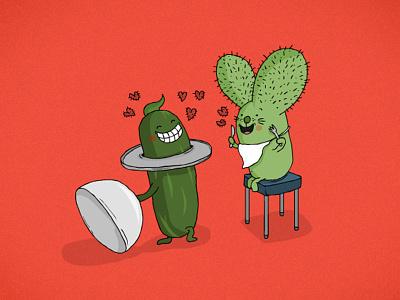 Valentine's dinner loving hearts heart cucumber cactus rabtus food love