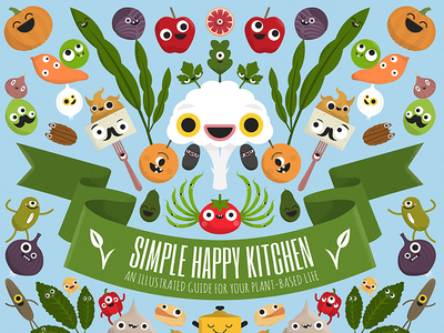 Simple Happy Kitchen book apple potato tomato characters nutrition food vegetables fruits plantbased vegan