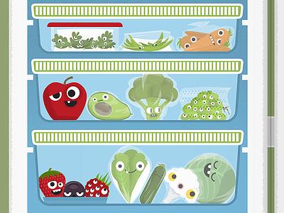 Food storage broccoli avocado refrigerator berries lettuce cabbage carrot apple