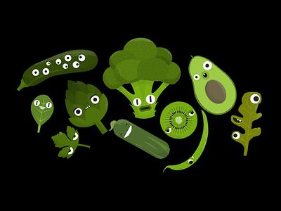 Green Guys kiwi leaf cucumber broccoli avocado vegan vegetables
