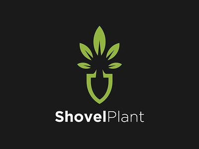 Shovel Plant logo identity gardening leaft symbol icon logo template graphicdesign graphic green nature plant shovel garden illustration vector simple logo negativespace logo meaningfull logo creative logo