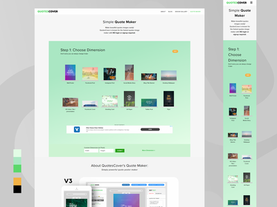 Minor redesign of QuotesCover.com hero area webapp web design