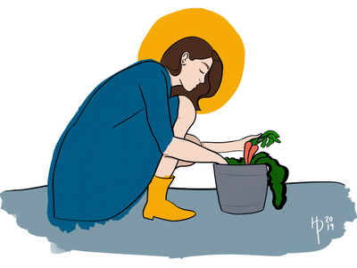 Growing Garden harvest digital illustration digital art sun woman brown gray blue yellow vegetables gardener gardening illustrator illustration procreate