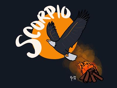 Unconventional Scorpio phoenix eagle bird astrology gray brown blue red yellow digital illustration digital art illustrator illustration procreate scorpio
