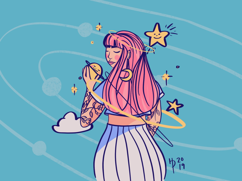 #drawthisinyourstyle Part II purple blue yellow pink stars moon galaxy space woman digital illustration digital art instagram illustration procreate