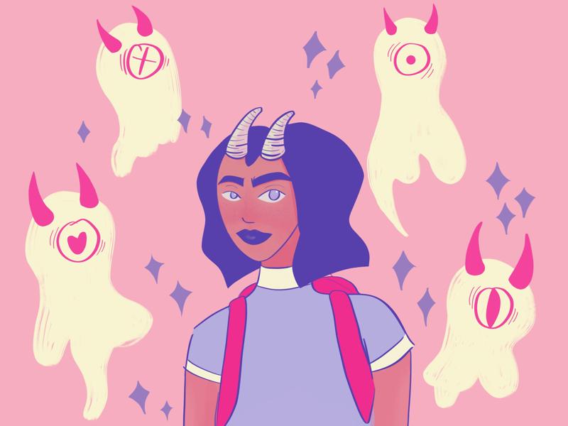 #dtiys woman ghost cream purple pink procreate dtiys illustration digital illustration digital art