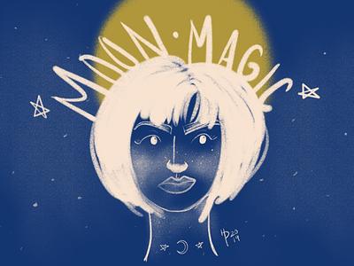 Moon Magic magic moon space blue illustrator illustration digital art digital illustration procreate