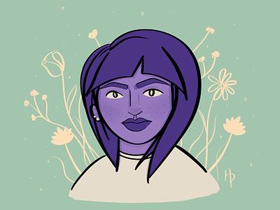 Purple Gal cream green purple illustrator illustration digital illustration digital art procreate