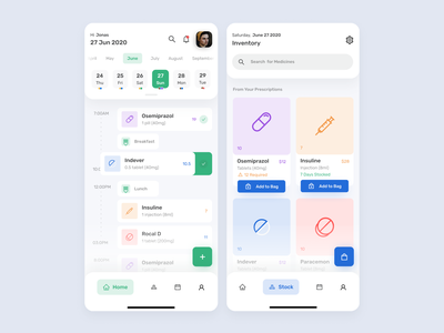 Medicine Reminder and Inventory App figma ecommerce inventory exploration medicine healthcare health reminder medicines medical design modern minimal ux ui clean