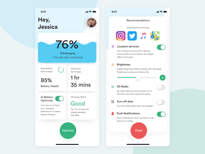 Battery Optimizer- App exploration battery app uiux exploration simple ios modern minimal ux ui clean