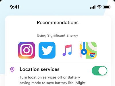 Battery Optimizer- App exploration battery app uiux exploration simple ios modern minimal ux ui clean