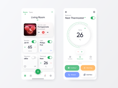 Ausho Home automation Exploration design knob controller smartapp smarthome concept ios app design application ausho uiux ux ui nest philips hue home automation app
