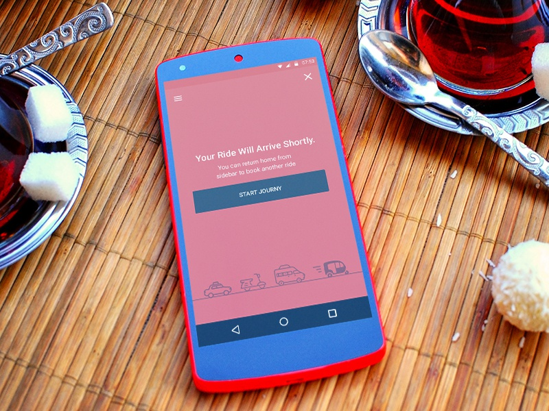 OIkhali App Waiting Screen minimal application android red iconography flat clean ux ui