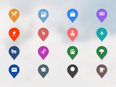 Map Icons clean pin location map ui icons