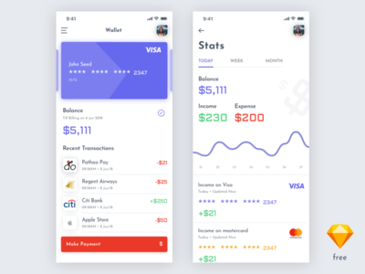 Finance App Exploration [Free Sketch File]