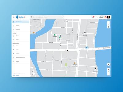 FollowR Vehicle Tracking Web App enterprise real time tracking map bike design vehicle car vehicles ux ui material