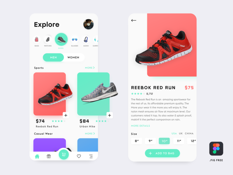 E-Commerce App( Free Figma File) shopping app shop ecommerce design clean ux ui