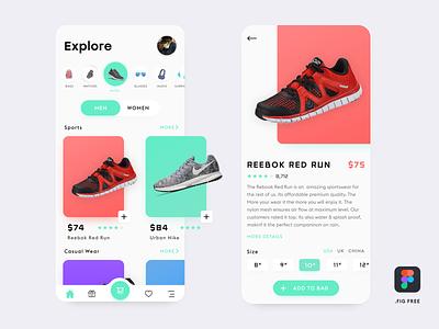 E-Commerce App( Free Figma File) shopping app shop ecommerce design clean ux ui